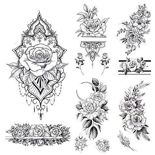 glaryyears 11 Sheets 24 Tattoos Black Flower Temporary Tattoos for Women, Realistic Henna Rose Fake Temporary Tattoo Stickers Waterproof on Wrist Arm Shoulder Body Art 3.5''x7.5''