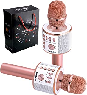 BONAOK Wireless Bluetooth Karaoke Microphone, Portable Handheld Mic Speaker Machine Home Party Birthday Gift for iPhone/Android/All Smartphones, Outdoor, Birthday, Home, Party (Rose Gold )