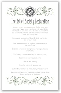 LDS Relief Society Declaration Poster - Green Scroll Style - 11x17 Inch