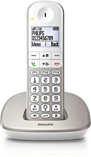 Philips XL4901S/23 - Teléfono Fijo Inalámbrico (16 Horas, Audífonos Compatibles, Marcación Directa, Manos Libres, My Sound, 2 Números por Contacto, Antideslizante, Reducción de Ruido) Blanco/Dorado