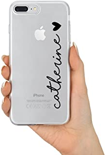 TULLUN Personalized Name & Heart Clear Soft Gel Phone Case Cover for iPhone Models - Black Name & Heart - for iPhone 5 / 5s/ SE