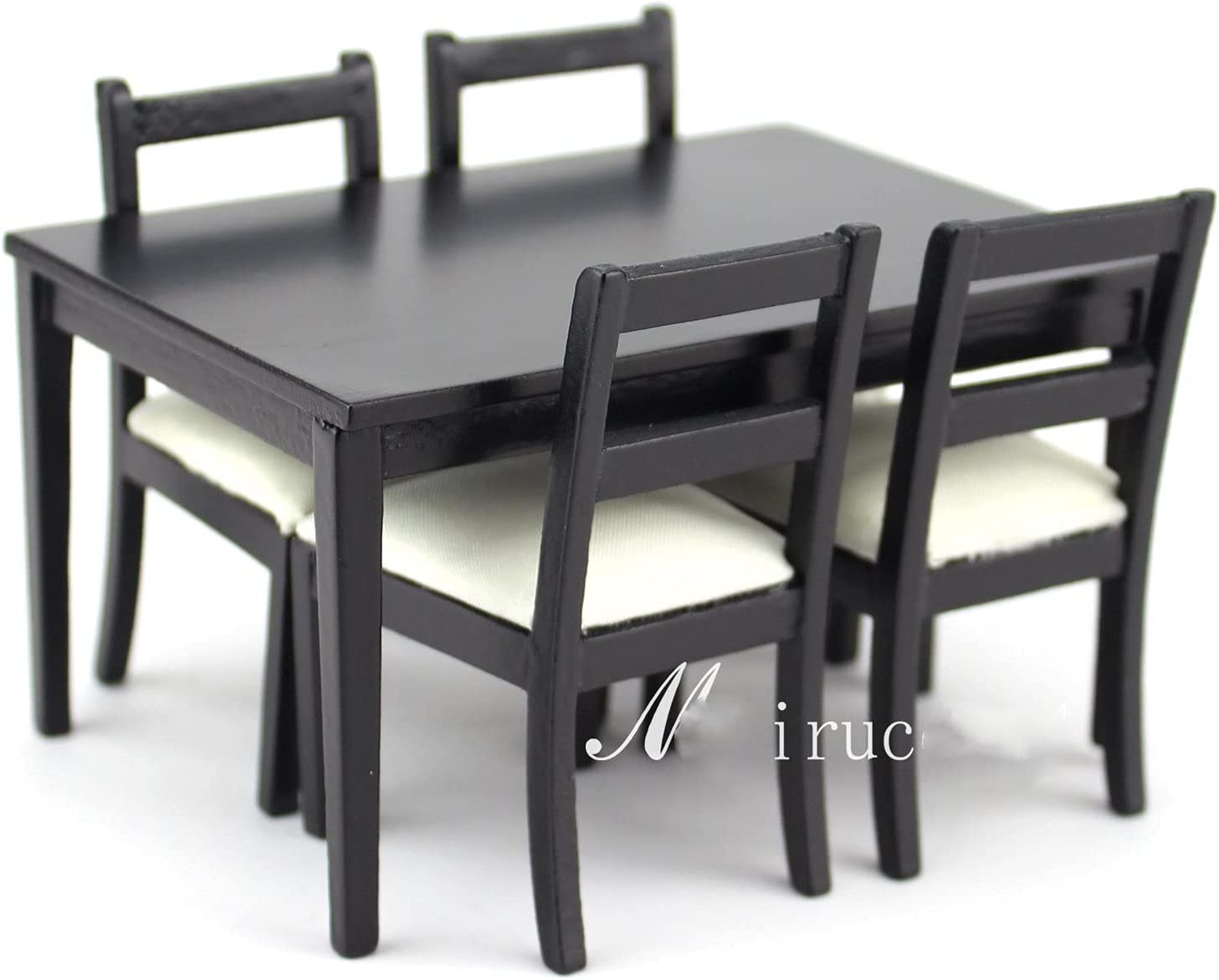 Meirucorp Dollhouses 1/12 Scale Miniature Furniture Black Dining