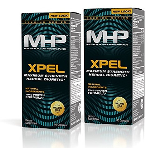 MHP Xpel Maximum Strength Diuretic Capsules, 80 Count (Pack of 2) (Packaging May Vary)