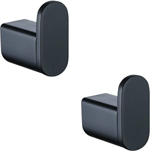 Hanting Matte Black Towel Hooks, 2 Count, Robe Hook for Bath and Kitchen, with Mounting Hardware