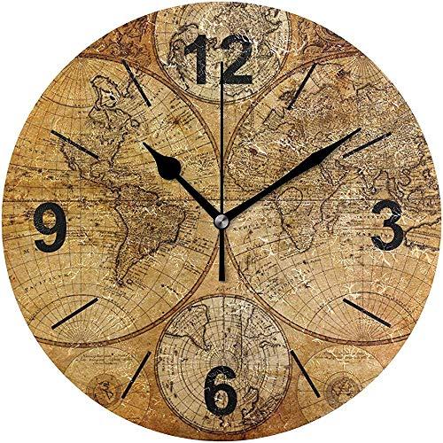 L.Fenn Wandklok, rond, kunst, vintage, wereldkaart, patroon, diameter stil, decoratief voor thuis, kantoor, keuken, slaapkamer