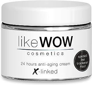 Especial para pieles secas: likeWOW crema hialurónica antienvejecimiento 50 ml Hecho en Alemania con 3 dosis altas de ácidos hialurónicos (reticulados, de cadena corta, larga) y péptidos