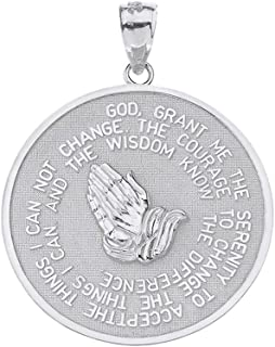 Solid 925 Sterling Silver Bible Verse Serenity and Lord's Prayer Medal Pendant