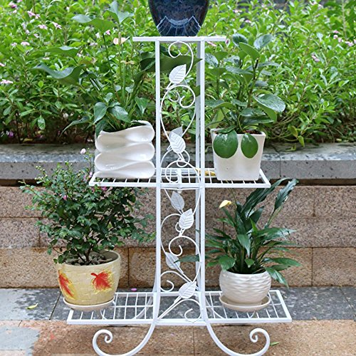 LLLXUHA Art de Fer métal Multi-Couche Support de Fleurs, intérieur Salon Type de Plancher Cadre de bonsaï, de Plein air Jardin Plantes charnues Présentoir, Blanc, 23 * 58 * 82cm