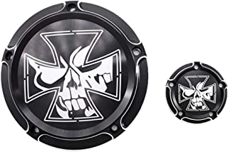 GUAIMI CNC Derby Timer Timing Engine Cover For Harley Dyna FLD Street Glide FLHTK FLHRS Fatboy FXSTB - Gothic Skull Cross