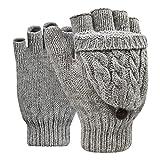Winter Handschuhe Fingerlose Fäustlinge Damen Mädchen Doppelfunktione Winterhandschuhe Fingerhandschuhe Strickhandschuhe mit Flip Top, Grau, Einheitsgröße
