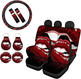 Biyejit Red Lips Front Rear Bench Back Seat Cover Universal Full Set with Steering Wheel Cover+ Seat Belt Cover+ Cup Holde...