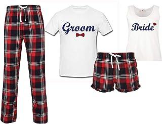 60 Second Makeover Limited Bride Groom Honeymoon Wedding Couples Matching Pyjama Tartan Set Couples Pajamas