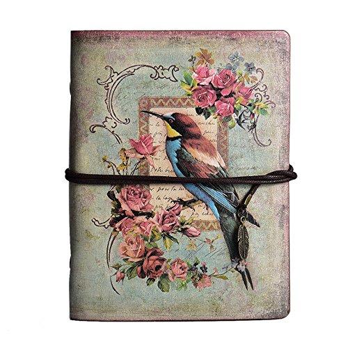 Taccuino agenda in pelle, MALEDEN vintage Traveler notebook, classica, ricaricabile, agenda, diario, album per schizzi, per ragazze e ragazzi con copertina rigida e tasca con zip Bird