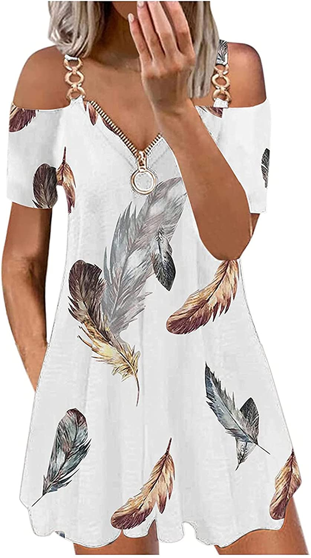 MIVAMIYA Womens Summer Dresses Sexy Cold Shoulder Zipper V Neck Metal Chain Sleeve Feather Shift Dress