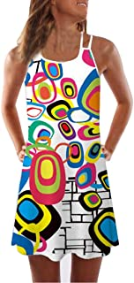 TOPUNDER Women Loose Summer Vintage Sleeveless Dress 3D Floral Print Bohe Tank Short Mini Dresses
