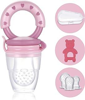 Tétine d'Alimentation pour Bébé - 1 Grignoteuse Bébé + 3 Tétines silicone (3 à 24 mois) sans BPA - Anneau de Dentition + B...