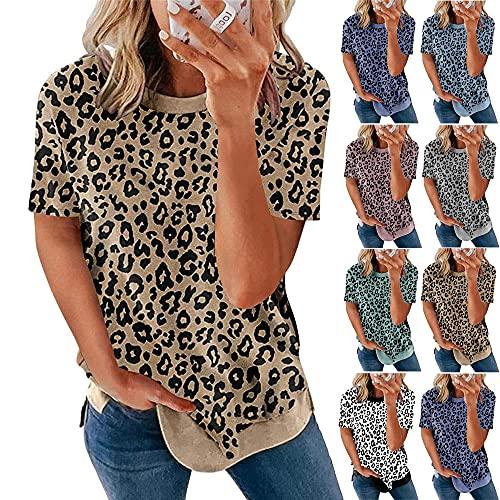 Camiseta Mujer Tops Mujer Sexy Estampado De Leopardo Cuello Redondo Manga Corta Verano Moda Vacaciones Ocio Cómodo Chic Nuevas Mujeres Shirt Mujer Camisas A-Khaki XL