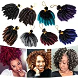 6 Inch Wand Curl Crochet Twist Braids 20 Roots Jamaican Toni Bounce Curly Braiding Hair for African American Black Women 3Lots/pack 180g-Black to Blue