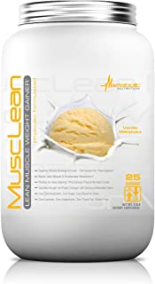 Metabolic Nutrition, Musclean, Whey Protein Meal Replacement, Weight Gainer, High Protein, Low Carb, High Fat, Keto Diet, Digestive Enzymes, 24 Vitamins and Minerals, Vanilla, 2.5 Pound (25 ser)