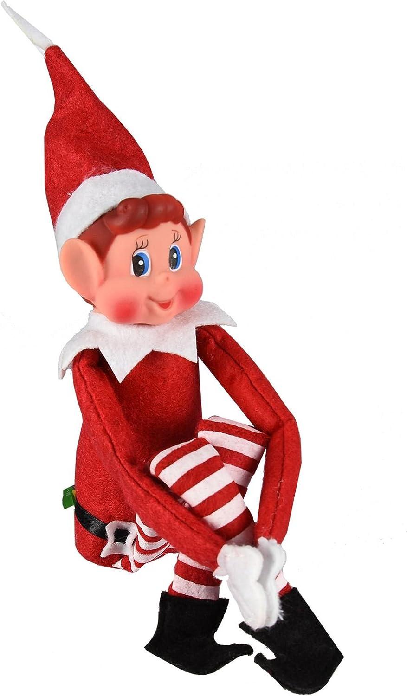 ASAB Christmas Elf Soft Toy Smiley Face Sits On Shelf