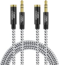 3.5mm Headphone Extension Cable, CableCreation 3.5mm Male to Female Stereo Audio Extension Cable Adapter with Gold Plated Connector, [2-Pack] 6 Feet
