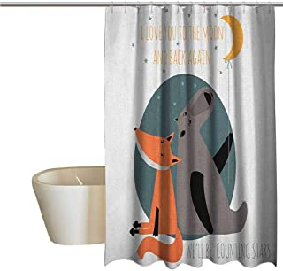 Genhequnan I Love You Funny Shower Curtain Bear and Fox in Love Valentines Counting Night Stars Animal Print Fabric Shower Curtains for Bathroom W55 x L72 Inch Orange Slate Blue Grey