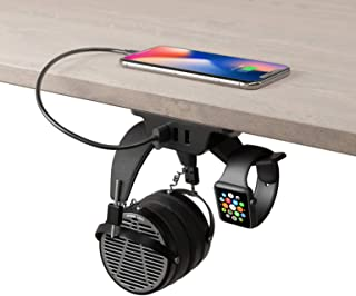 HumanCentric Headphone Stand with USB Charger (Black)   Under Desk Headset Hanger and Mount with 3 USB-A Ports   Gaming, C...