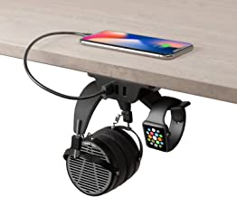 HumanCentric Headphone Stand with USB Charger (Black) | Under Desk Headset Hanger and Mount with...