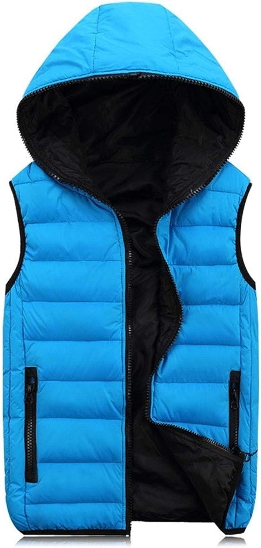DSSJG Spring Autumn Sleeveless Jacket for Men Warm Hooded Male Winter Vest Light Plus Size Mens Work Vests Waistcoat (Color : Blue Vest, Size : M.)