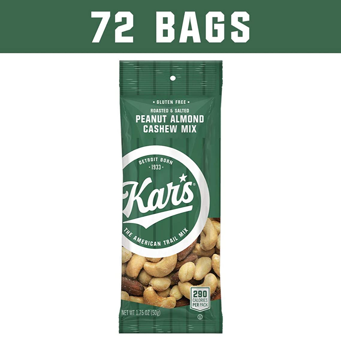 Kar's Peanut Almond Cashew Mixed Nuts Snacks - Bulk Pack of 1.75 oz Individual Single Serve Bags (Pack of 72)