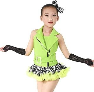 Jazz Dance Costume Hip Hop Outfits for Girls 6 Pieces Halter Zebra Skirt