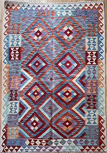 Alfombra oriental afgana hecha a mano Kilim de lana de colores naturales afganos turcos nómada persa tradicional persa 129 x 174 cm vintage corredor pasillo escalera reversible