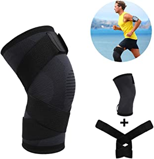 Knee Brace for Women and Men, Knee Compression Sleeve with Strap for Running, Jogging, Sports, ACL, Arthritis, Meniscus Tear, Joint Pain Relieve and Injury Recovery