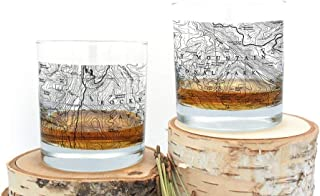 Whiskey Glasses - Rocky Mountain Topographic Map - Set of Two Screen Printed Rock Glasses