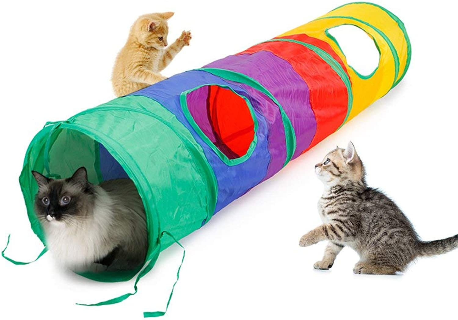 Cat Tunnel Pet Tube Collapsible Play Toy Indoor Outdoor Kitty Toys for Puzzle Exercising Hiding Training and Running with Fun Ball