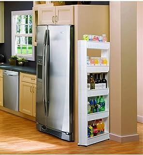 Estante de almacenamiento extraíble para la cocina, estante deslizable para estantes delgados para espacios estrechos para la colada, estante de baño con ruedas, escurreplatos de metal para el hogar