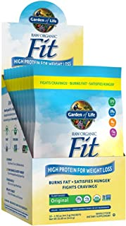 Garden of Life Meal Replacement - Raw Organic Fit Powder, Original - High Protein for Weight Loss (28g) Plus Fiber & Probiotics, Organic & Non-GMO Vegan Nutritional Shake, Packets (10 Count Tray)