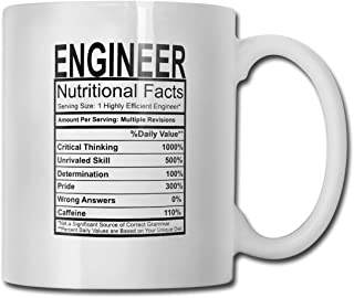 Engineer Nutritional Facts Funny Coffee Mug - 11 OZ Ceramic Coffee Cup - Unique Christmas Holiday Birthday Gifts for Engineer