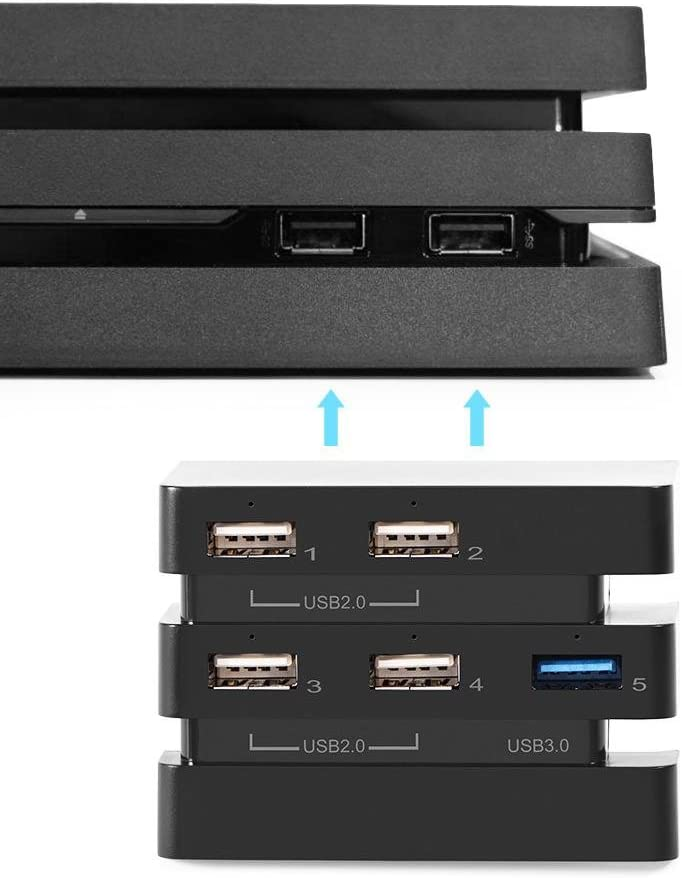 Ymiko High Speed 5-Port USB Hub 2.0 & 3.0 Expansion Hub Controller Adapter for PS4 Pro Game Console, LED Indicators