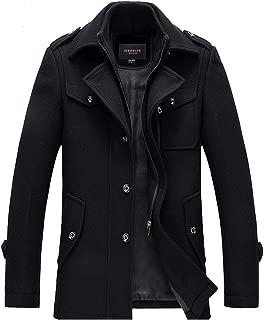 Men's Winter Slim Fit Wool Coat Jacket Stand Collar Overcoat Mid Long