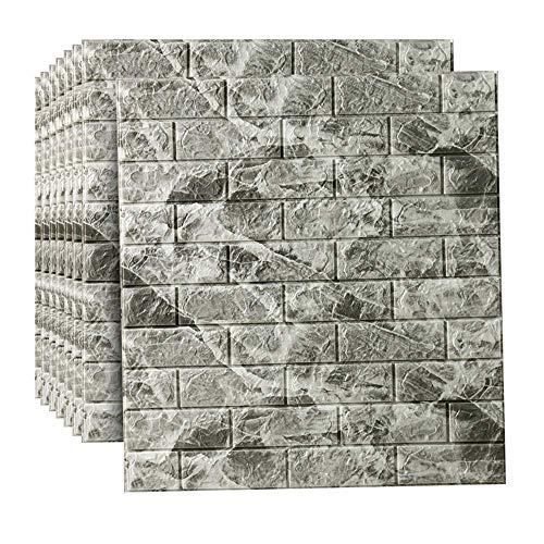 DSJMUY Wandaufkleber 3D Brick Adhesive Wall, DIY Selbstklebende wasserdichte Wandpaneel, Moderne Wandaufkleber Dekor für Bad, Wohnzimmer und Küche, Büro, TV Hintergrund 70x77cm (C, 10 Stück)