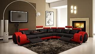 Vig Furniture 4087 Red & Black Bonded Leather Sectional Sofa