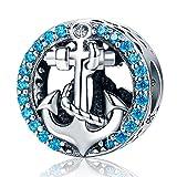 XingYue Jewelry Abalorio de plata de ley S925, diseño de ancla náutica de ancla de cristal, compatible con pulseras Pandora plateado