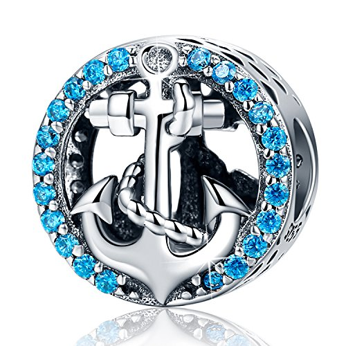 XingYue Jewelry S925 Sterling Silver Boat Anchor Bead Charm Nautical Anchor Crystal Charm fit Pandora Charms Bracelets (Nautical Anchor Charm)