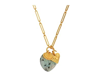 Madewell Semi Heart Stone Charm Necklace (Lotus Jasper) Necklace