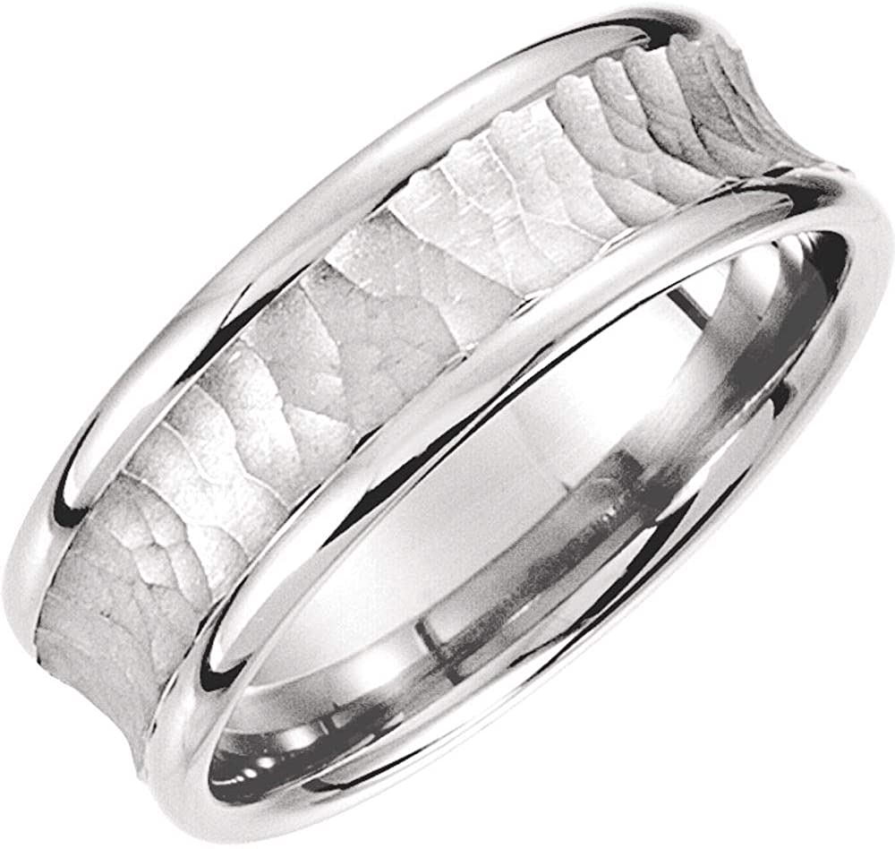 Platinum 7.5mm New Orleans Mall Fancy Carved Bridal Wedding 10 Size Large special price !! Ring Band