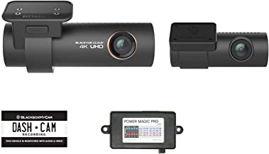 Blackvue DR900S-2CH with Power Magic Pro Hardwire Kit 2-Channel (Front & Rear) Camera with Built-in GPS| 4K Dashcam | 256GB SD Card & Gilded USB Lighter Plug