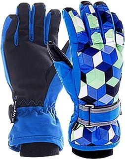 M2C Boys Diamond Pattern Waterproof Ski & Snowboarding Gloves with Velvet Lining Blue