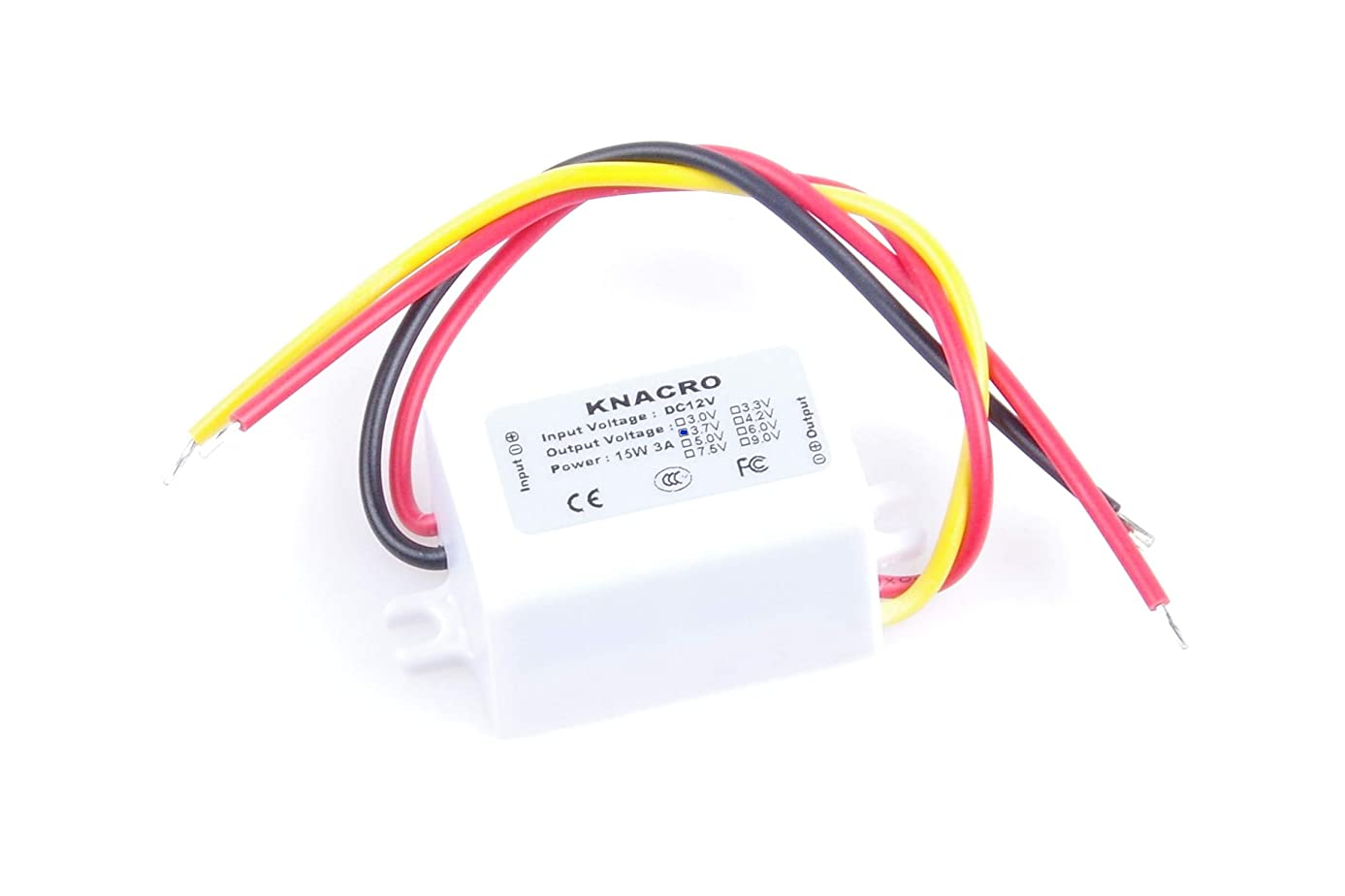 KNACRO Waterproof DC-DC 12V to 3.7V 3A 11.1W Step-Down Power Supply Module Car Power Converter Module Synchronous Buck Over-Temperature Over-Current Short Circuit Protection Suitable