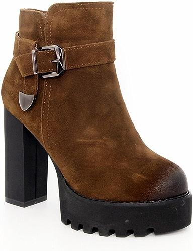 HBDLH-Chaussures pour Femmes Hiver Velvet Martin Bottes Nacré 11Cm Hauts Talons D'épaisseur des Talons Boucles Chefs épais Bas De Bottes.